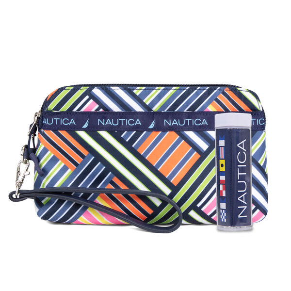 DOUBLE ZIP AROUND WRISTLET WITH CHARGER - Ice Blue