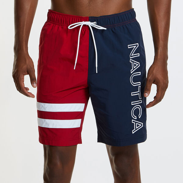 Heritage Swim Trunk in Colorblock - Nautica Red