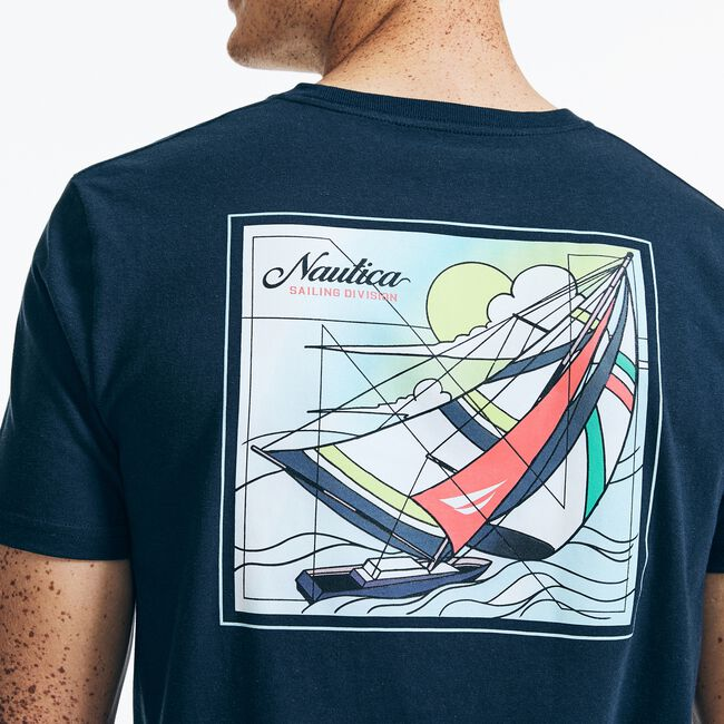 SUSTAINABLY CRAFTED SAILING DIVISION GRAPHIC T-SHIRT,Navy,large