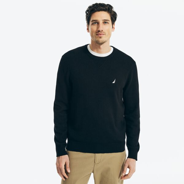 SUSTAINABLY CRAFTED CREWNECK SWEATER - True Black