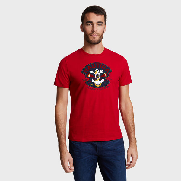 NS-83 Patch Crewneck T-Shirt - Nautica Red