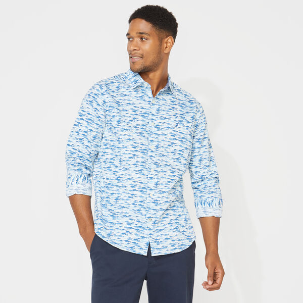 CLASSIC FIT LONG SLEEVE TONAL MULTI FISH PRINT SHIRT - Clear Sky Blue