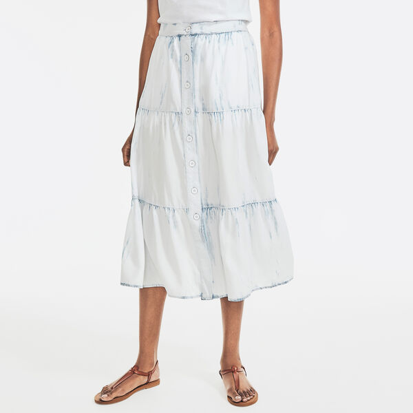 SUSTAINABLY CRAFTED TIERED MIDI SKIRT - Classic Blue