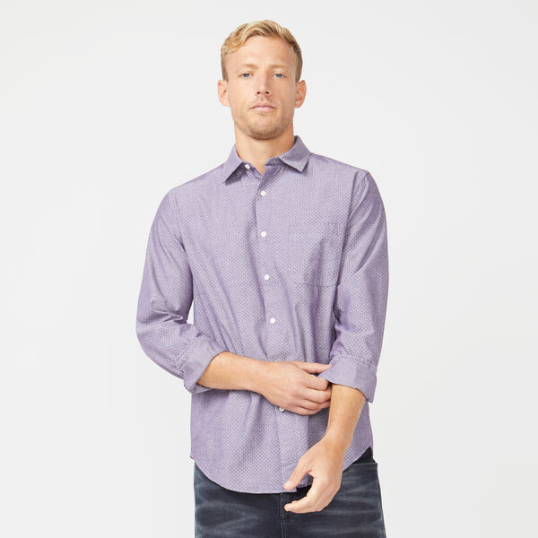 CLASSIC FIT LONG SLEEVE CHAMBRAY PRINTED SHIRT - Blackberry