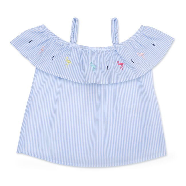 Little Girls' Striped Off-The-Shoulder Top (4-6X),Tropic Wave,large
