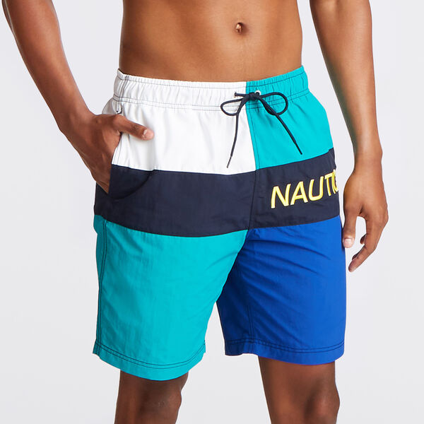 "8"" LOGO COLORBLOCK SWIM TRUNK - Gulf Coast Teal"