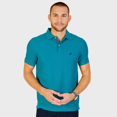 Short Sleeve Slim Fit Performance Tech Polo Shirt - Emerald Seas