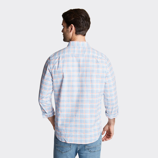 CLASSIC FIT OXFORD SHIRT IN PLAID,Suncoast Orange,large