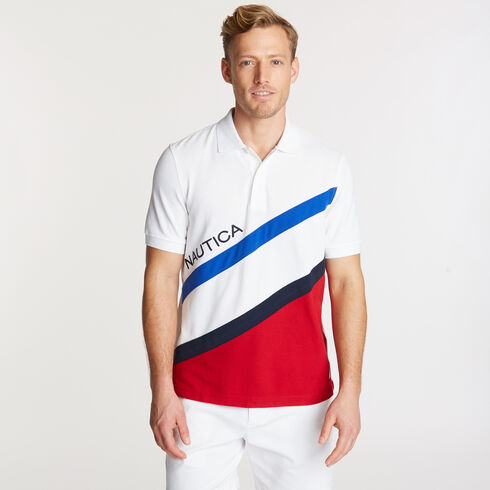 Diagonal Colorblock Performance Polo - Bright White