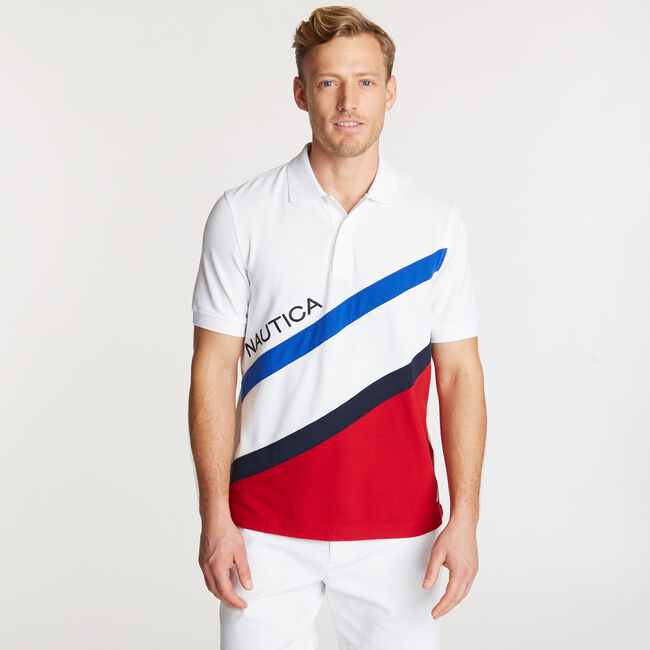 Diagonal Colorblock Performance Polo,Bright White,large