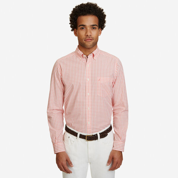 Big & Tall Poplin Gingham Classic Fit Button Down - Flame Red