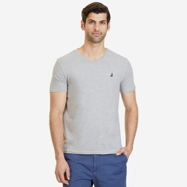 Slim Fit V-Neck T-Shirt,Grey Heather,large
