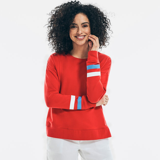 SUSTAINABLY CRAFTED STRIPED-SLEEVE SWEATSHIRT,Tomales Red,large