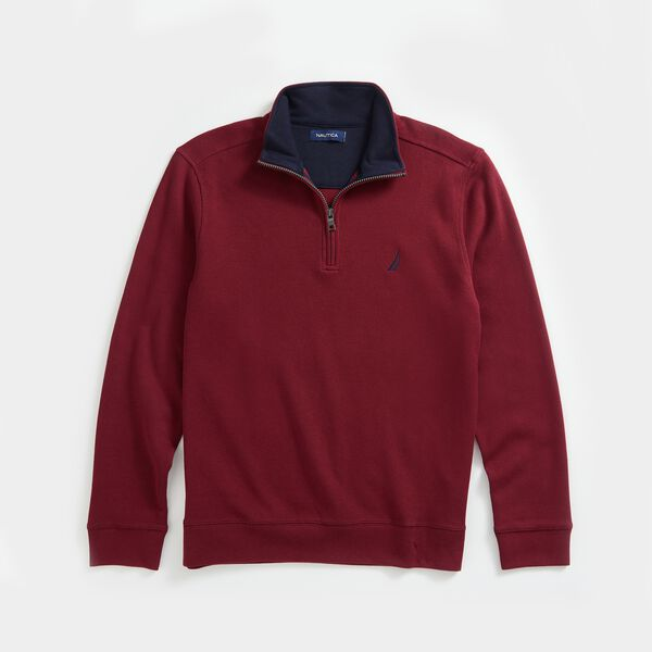 QUARTER-ZIP FRENCH RIBBED SWEATSHIRT - Zinfandel
