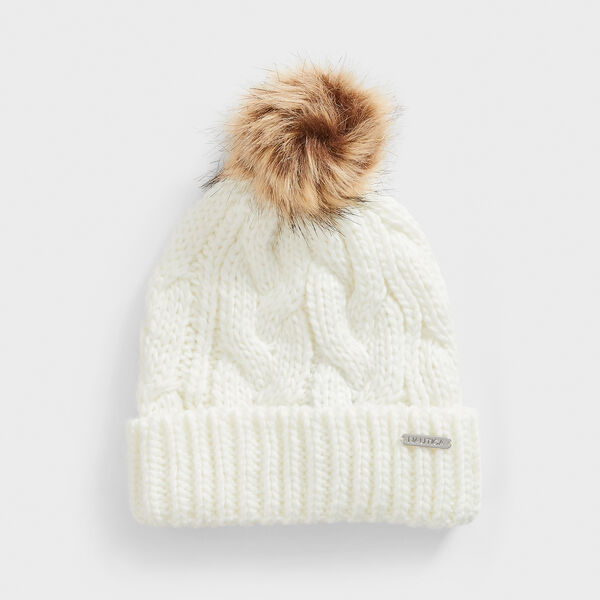 CABLE-KNIT POM-POM BEANIE - Marshmallow
