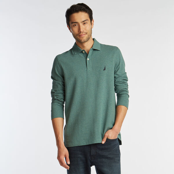 CLASSIC FIT LONG SLEEVE MESH POLO - Deep Fern Heather
