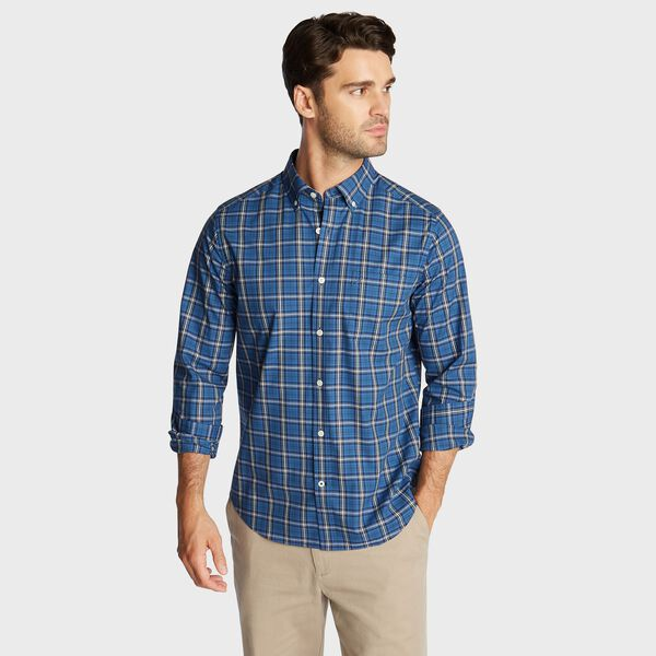 BIG & TALL STRETCH POPLIN PLAID SHIRT - Ensign Blue