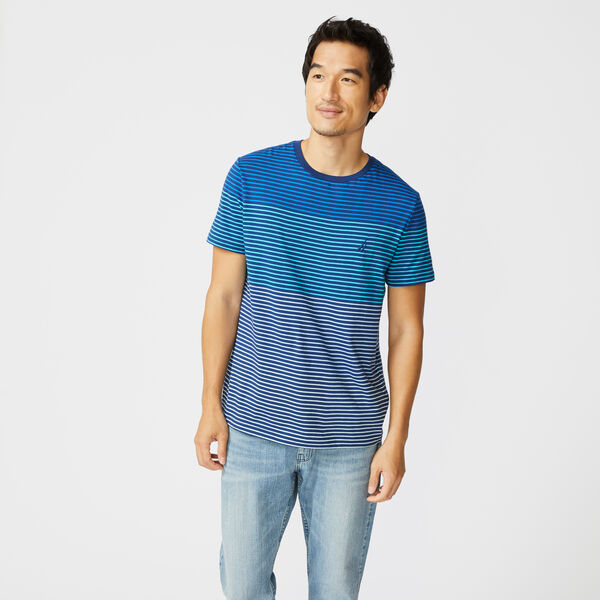 STRIPE COTTON T-SHIRT - True Navy
