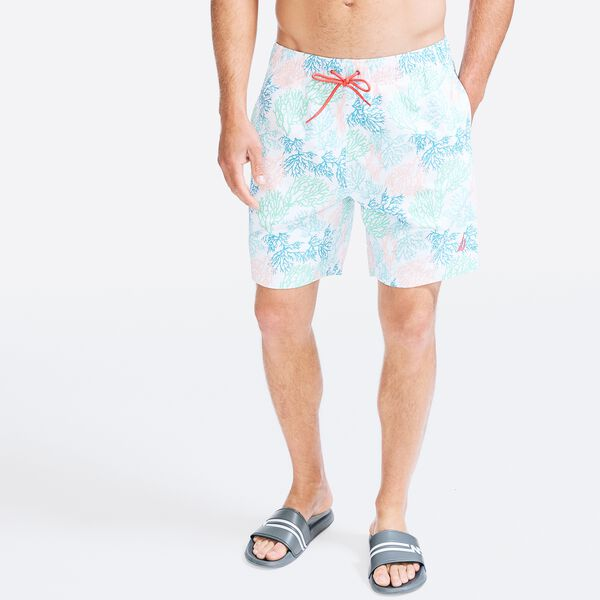 "8"" SUSTAINABLY CRAFTED CORAL PRINT SWIM SHORT - Bright White"