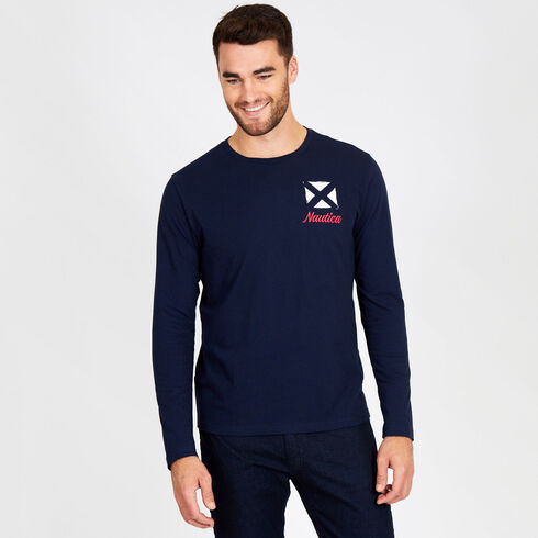 Big & Tall Long Sleeve Signal Flag Crewneck Tee - Navy