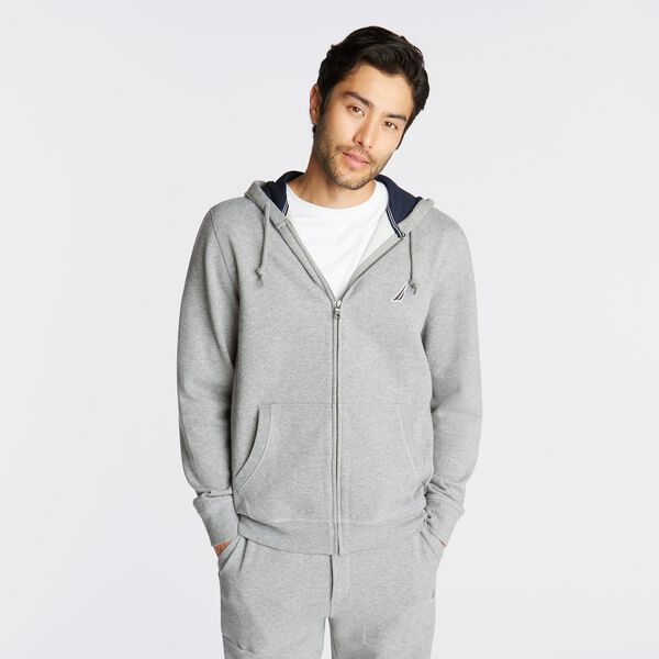 BIG & TALL FULL ZIP HOODIE - Stone Grey Heather