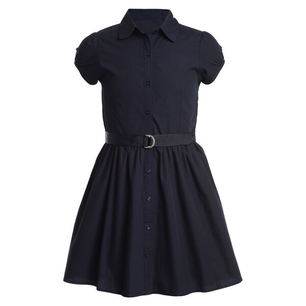 GIRLS' SHORT SLEEVE SHIRTDRESS (7-16) - Crystal Bay Blue