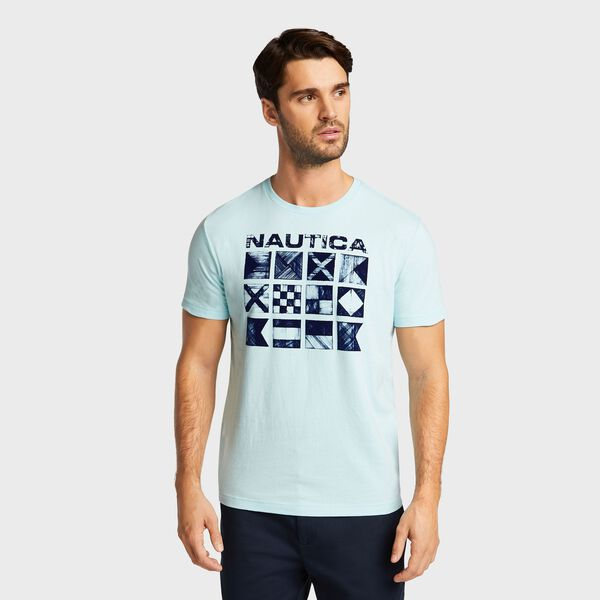 Big & Tall Crosshatch Flags Short Sleeve T-Shirt - Harbor Mist