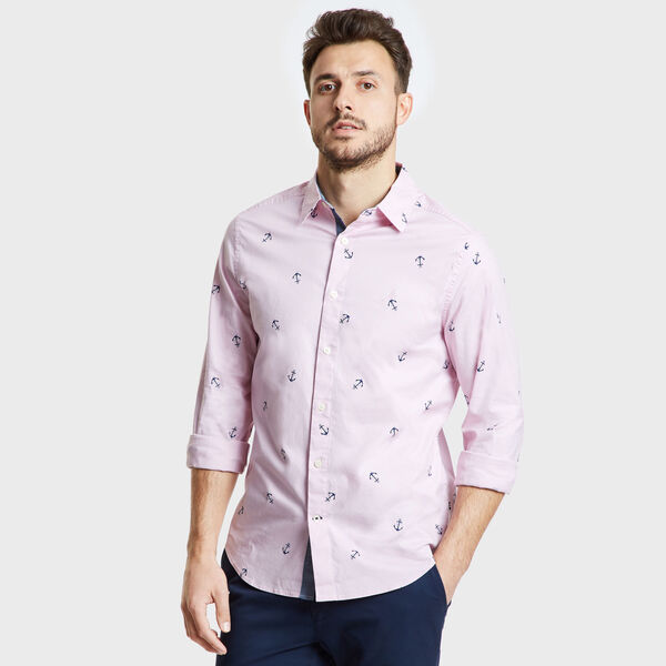 Long Sleeve Mini Anchor Motif Classic Fit Shirt - Leis Pink