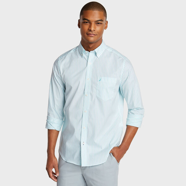 Wrinkle-Resistant Poplin Shirt in Stripe - Bali Bliss