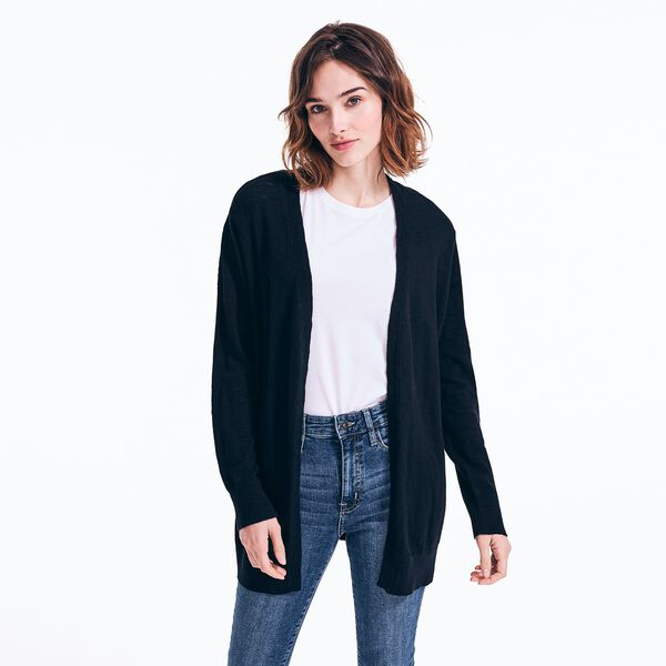V-NECK OPEN FRONT CARDIGAN - True Black