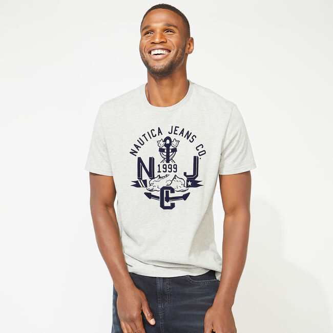 NAUTICA JEANS CO. GRAPHIC T-SHIRT,Grey Heather,large