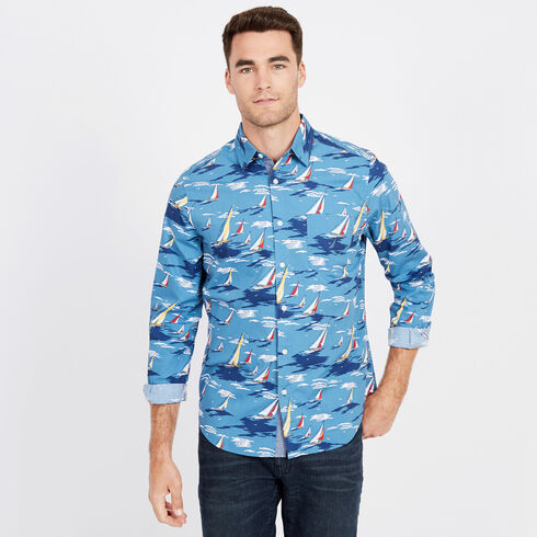 Abstract Boat Classic Fit Long Sleeve Shirt - Shore Turq