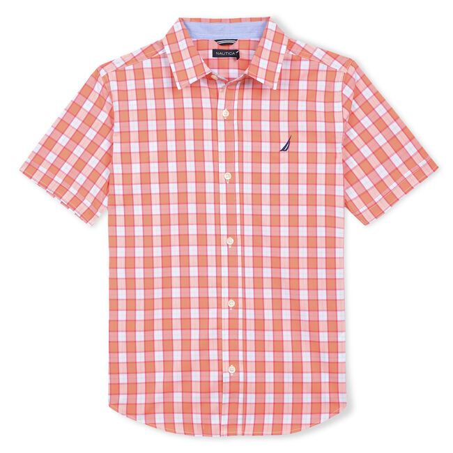 BOYS' SAMUEL SHORT SLEEVE WOVEN SHIRT,Faded Orange,large