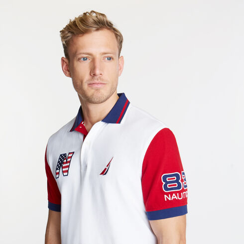 Short Sleeve Classic Fit USA Performance Polo - Bright White