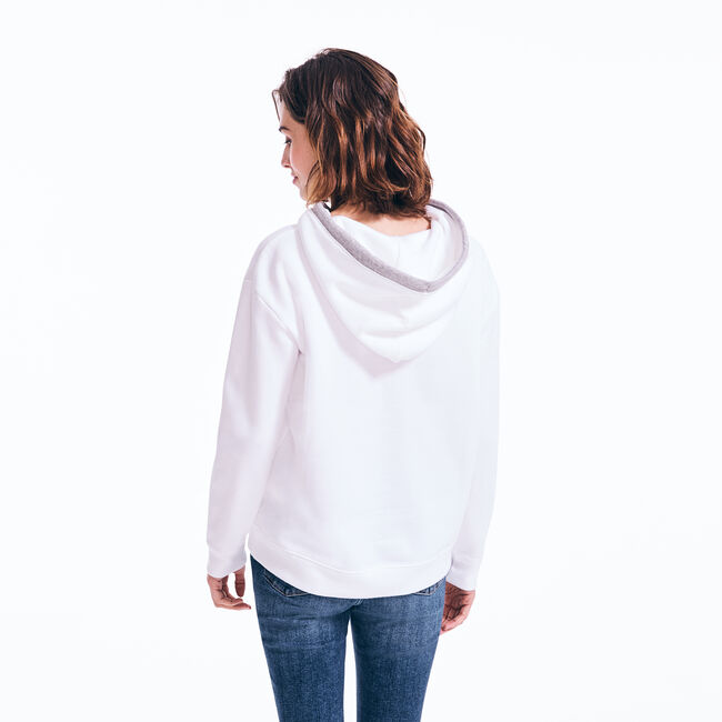 SPLIT NECK PULLOVER HOODIE,Bright White,large