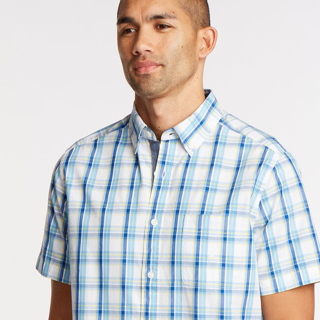 Short Sleeve Classic Fit Shirt in Plaid,Bright White,large