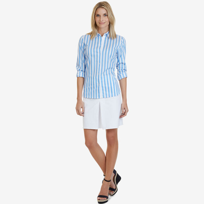 Striped Classic Fit Perfect Button-Down Shirt,Ballard Blue,large