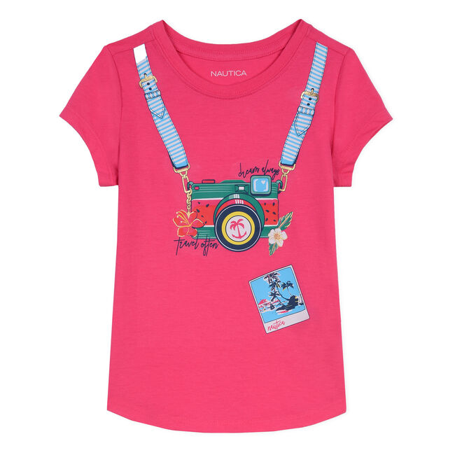 Girls' Jersey T-Shirt in Camera Graphic,Sunguard Red,large