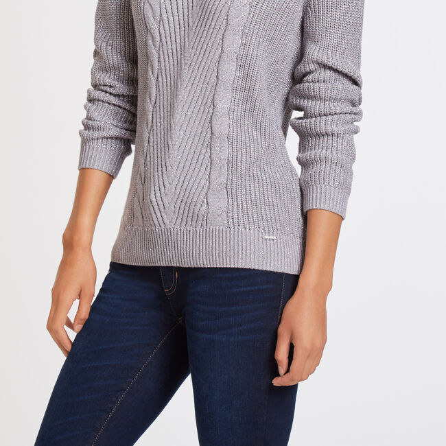 Long Sleeve Cable Knit Crewneck Sweater,Light Brown,large