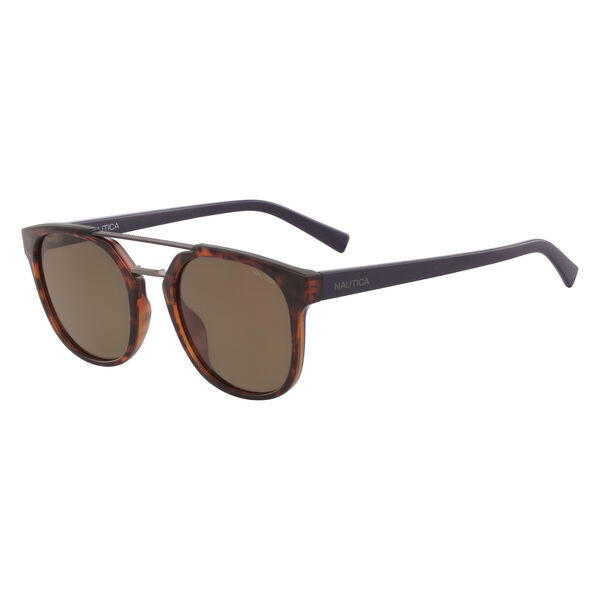 Round Sunglasses with Brow Bar - Sable Heather