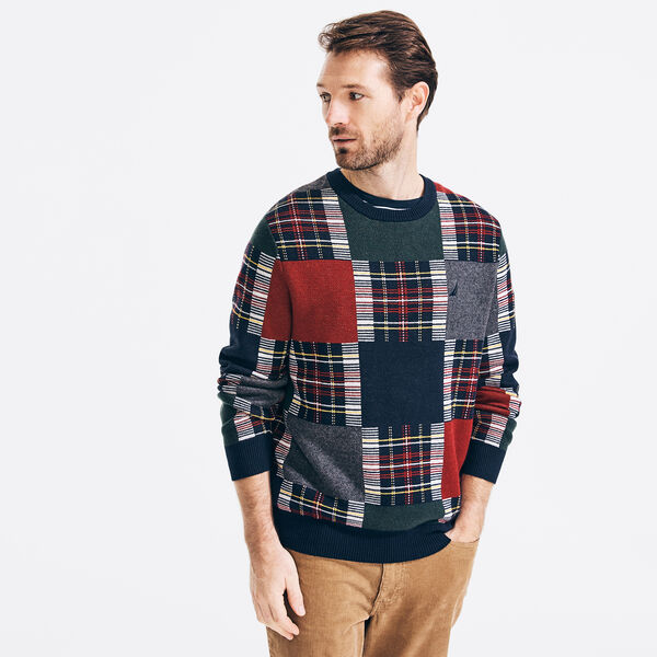 PLAID JACQUARD SWEATER - Navy