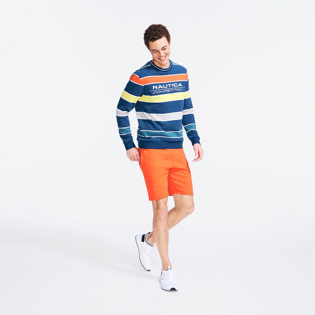 COMPETITION STRIPED SWEATSHIRT,Navy,large