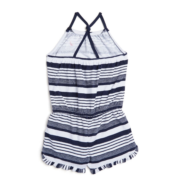 Girls' Striped Terry Romper (7-16),Navy,large