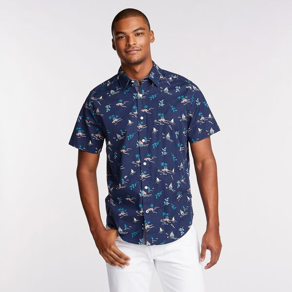 Classic Fit Short Sleeve Poplin Shirt in Print - Blue Depths