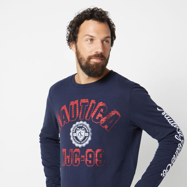 NAUTICA JEANS CO. LONG SLEEVE GRAPHIC T-SHIRT - Navy