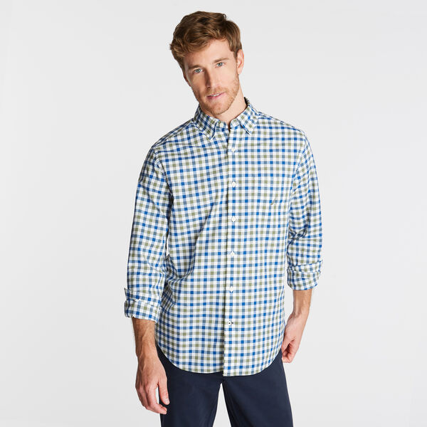 CLASSIC FIT POPLIN SHIRT IN TWO TONE GINGHAM - Olive Vine