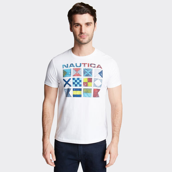 Crewneck Jersey T-Shirt in Crosshatch Flags Graphic - Bright White