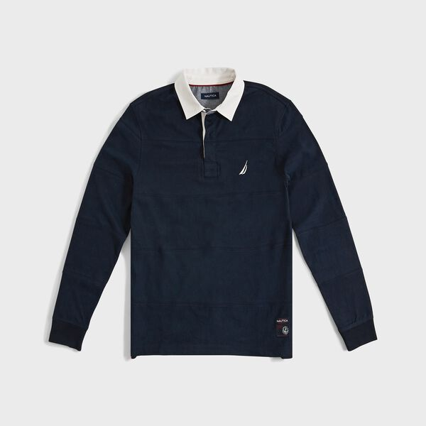 STRIPE-STITCHED LONG SLEEVE RUGBY POLO - Navy