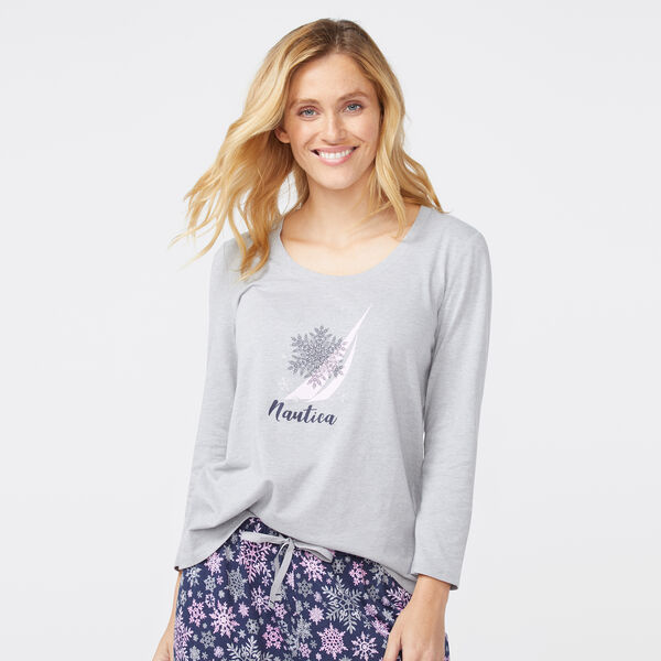 PINK GREY SNOW FLAKE LONG SLEEVE SET - Ballard Blue