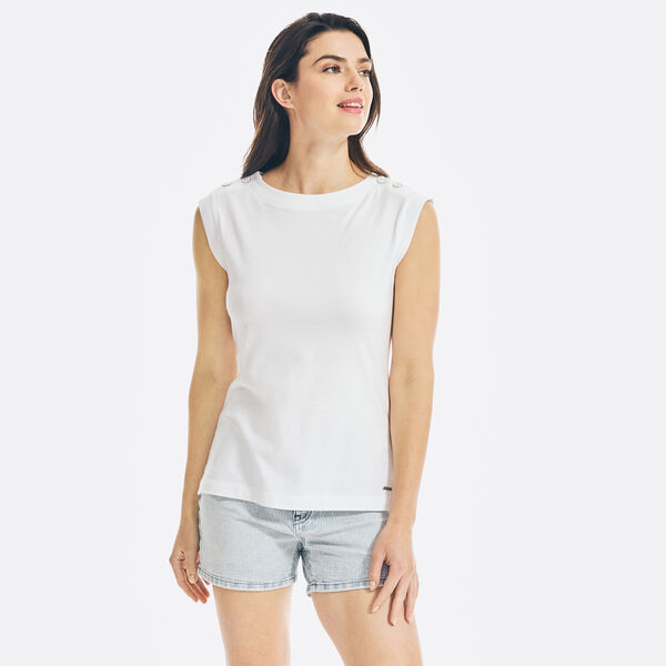 SUSTAINABLY CRAFTED BUTTON-SHOULDER SLEEVELESS TOP - Bright White